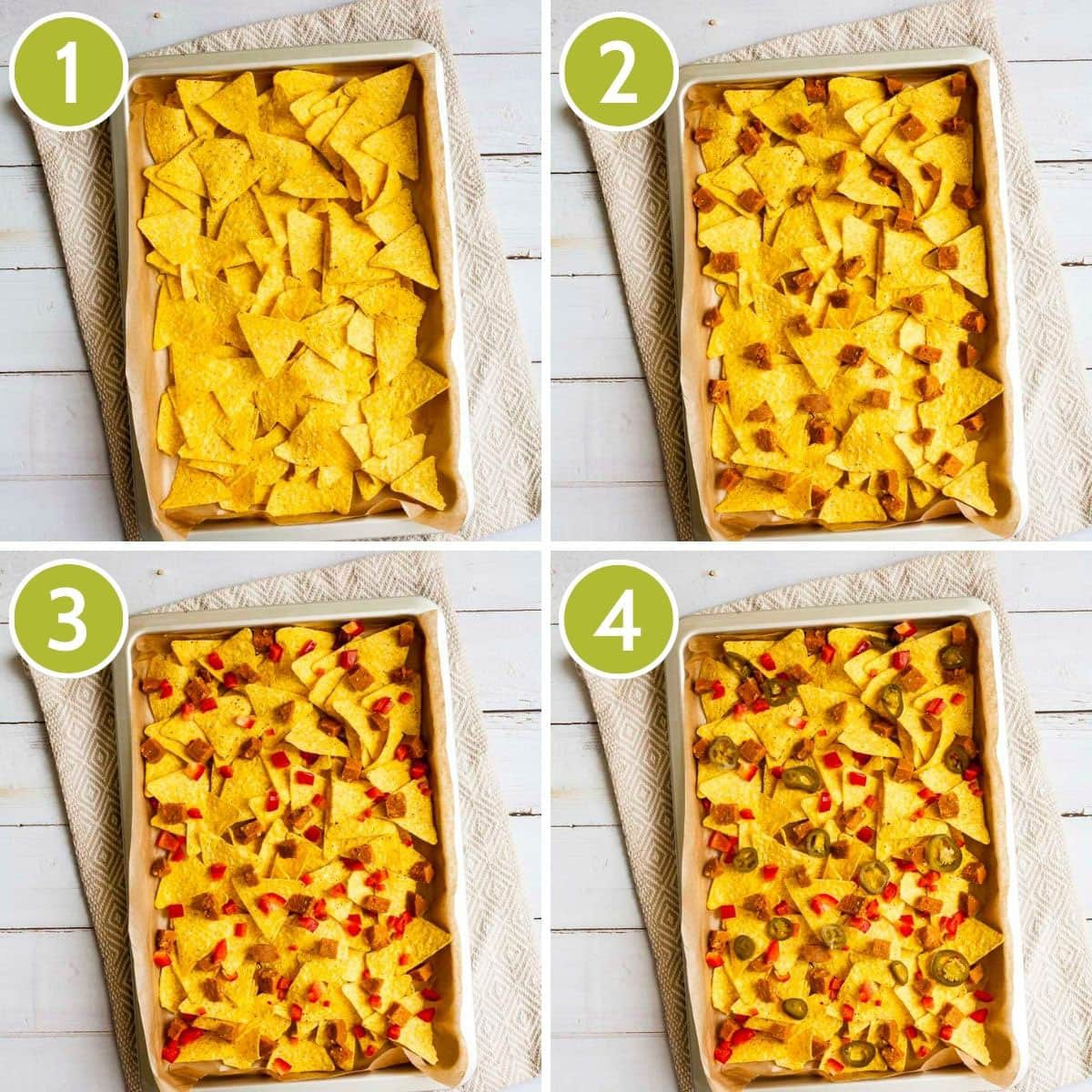 4 photo collage on how to layer vegan nachos starting with tortilla chips, then vegan sausages, then chopped bell pepper, then sliced jalapeno