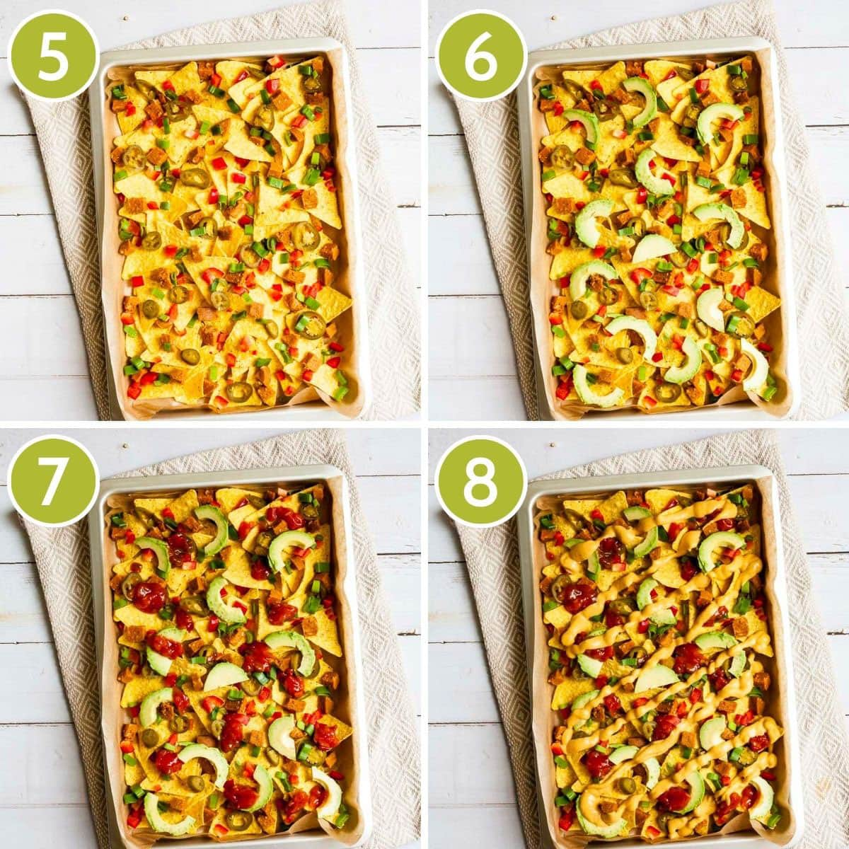 4 photo collage on how to layer vegan nachos continuing with chopped spring onion, avocado slices, red sauce, yellow sauce.