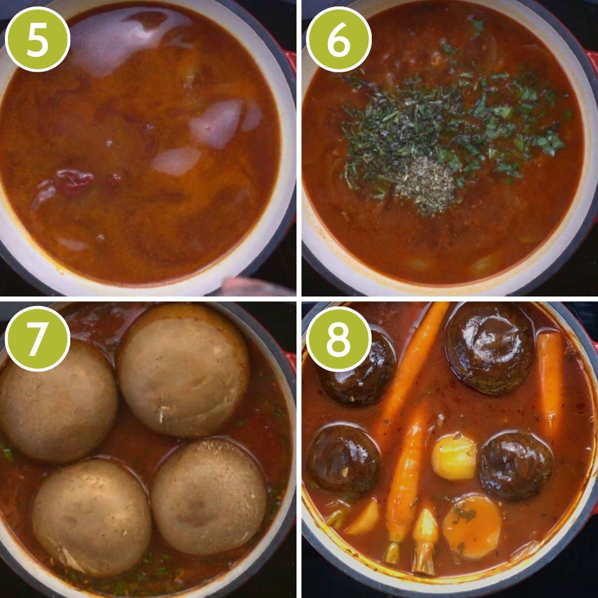 4 photo collage of how to cook portobello vegan pot roast showing a frying pan with red broth, green herbs, 4 large portobello mushroom caps and other yellow orange and purple veggies