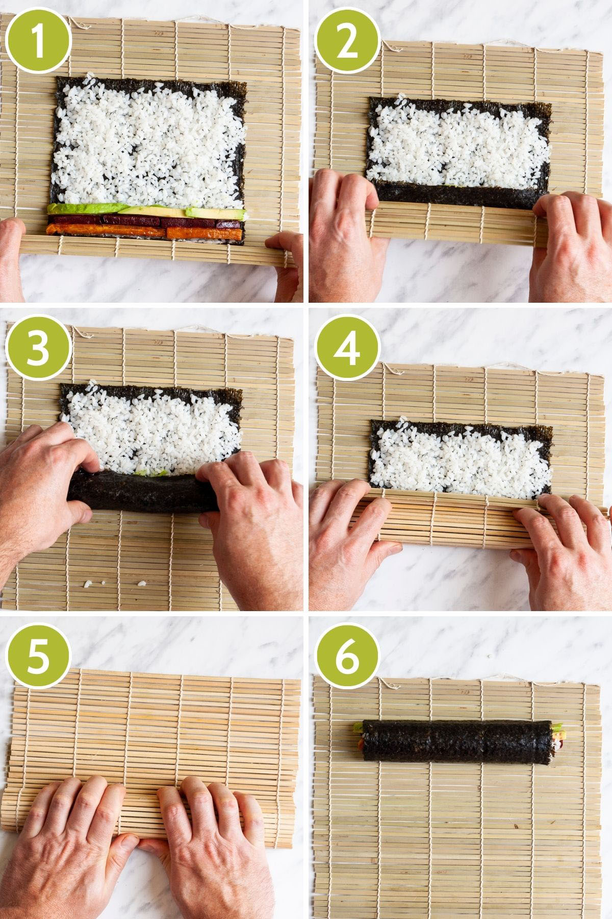 6 photo collage of how to roll sweet potato sushi rolls showing a Bamboo mat with green paper-like sheet topped with white rice and colourful sticks of veggies green purple and yellow forming 3 lines and a hand rolling it further on each step.