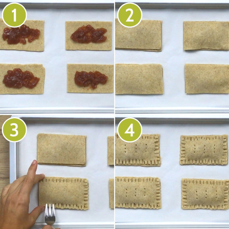4 photo collage of how to fill gluten-free pop tarts by showing the cut-out rectangles with filling and a hand holding a fork sealing the edges