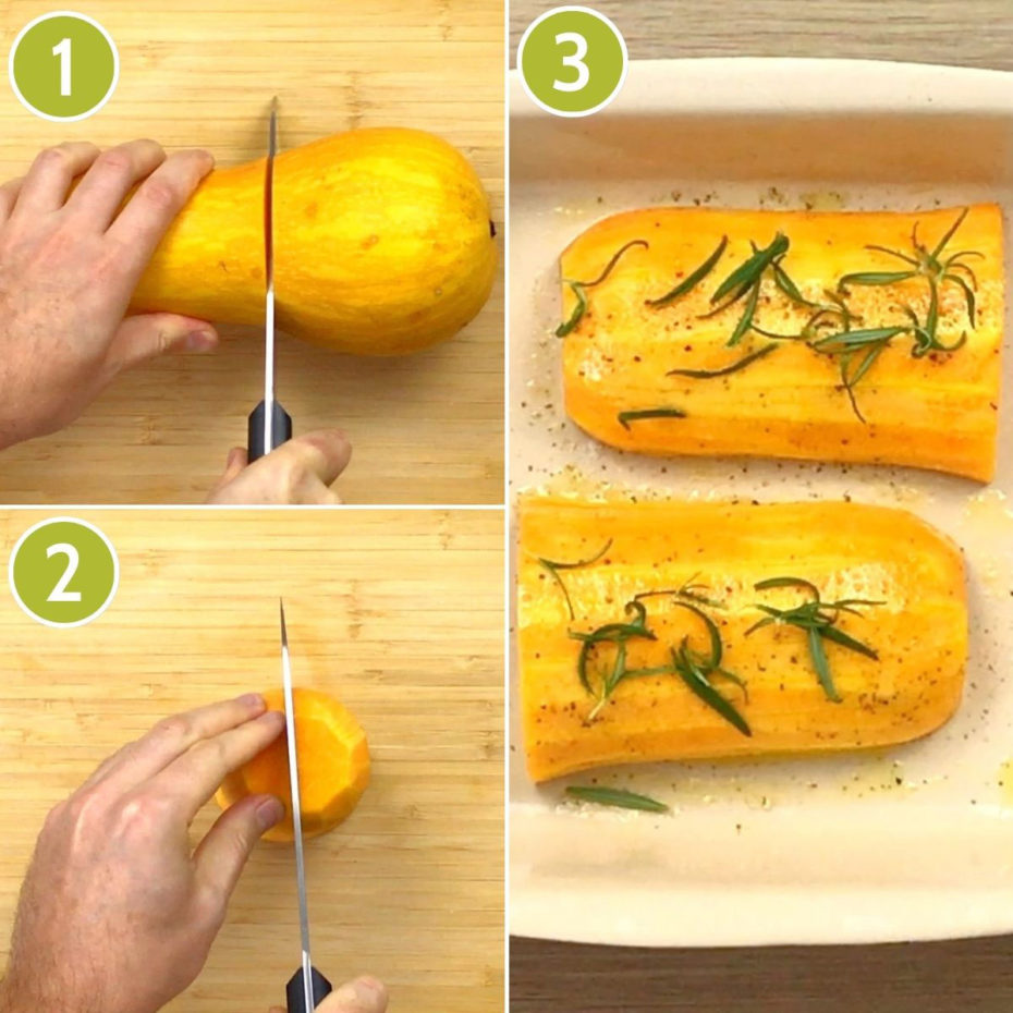 4 photo collage how to roast butternut squash for vegan wellington showing cutting the neck off, then cutting it half lengthwise then placing them in a dish with green herbs on top