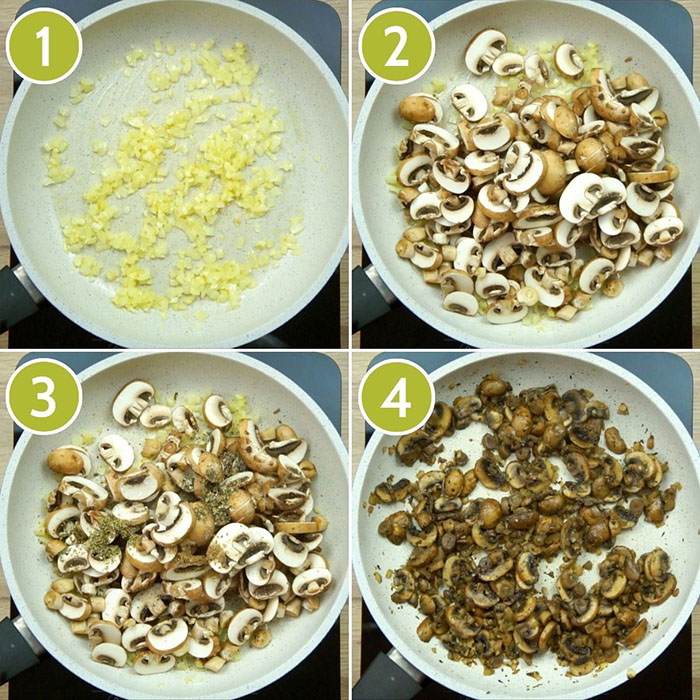 4 photo collage of a frying pan with sauteed onion, garlic, mushrooms and spices to make a mushroom meatballs base