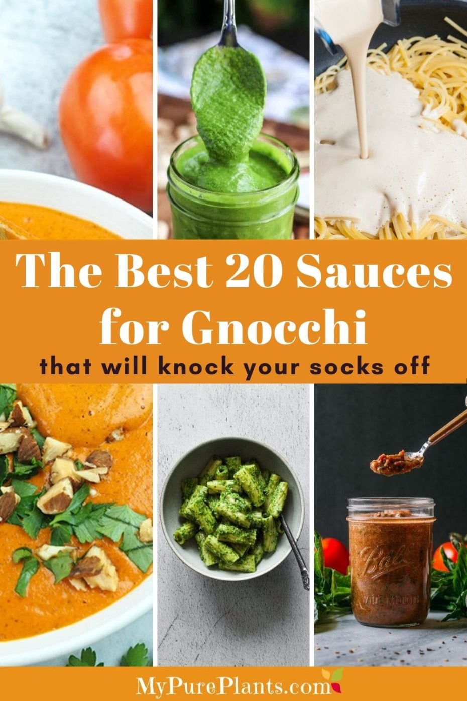 Photo collage of different colored sauces with a text in the middle saying The Best 20 Sauces for Gnocchi that will knock your socks off