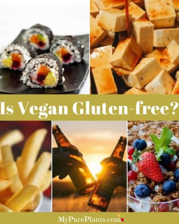 Photo collage of different foods with text in the middle saying Is vegan gluten-free? 11 foods to avoid