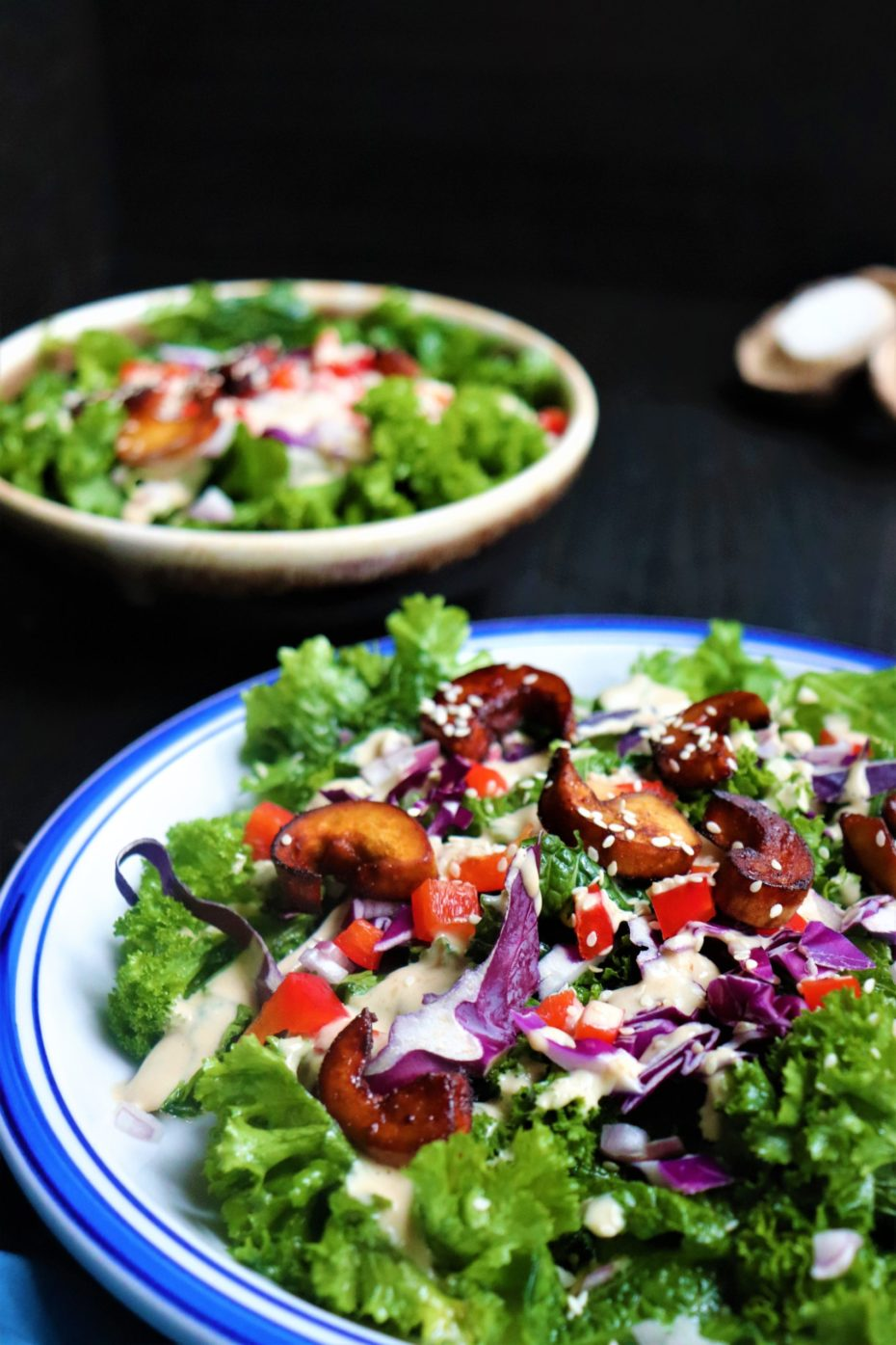 White blue plate with lots of green leaves, chopped veggies in different colors like red, purple, and brown drizzle with a light brown dressing