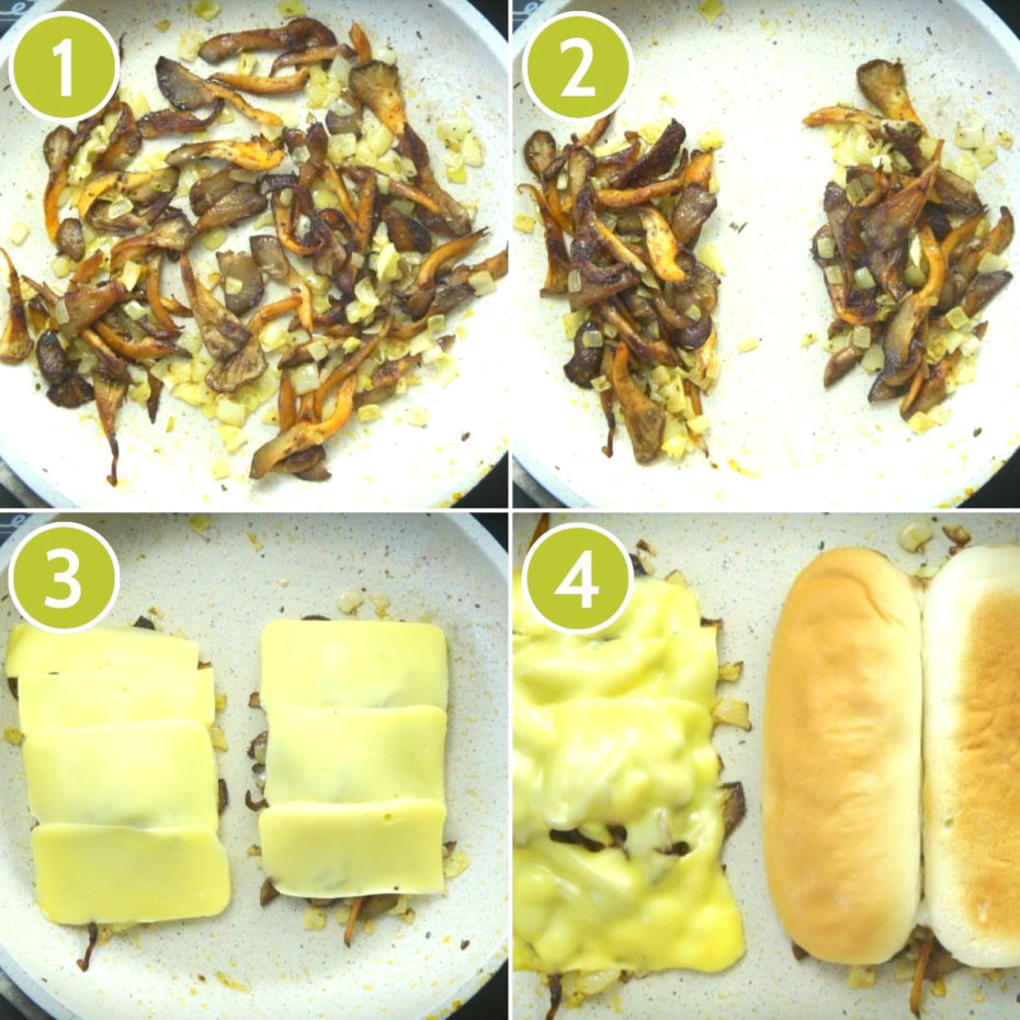 4 photo collage of how to make vegan cheeseteak showing a frying pan with shredded oyster mushroom topped with melted cheese slices