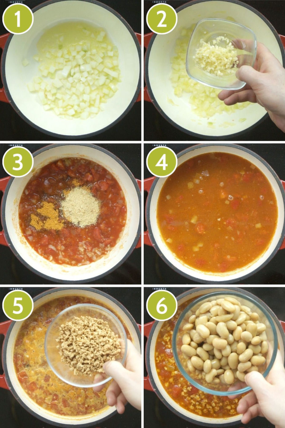 Collage of 6 photos showing a red dutch oven from above and the steps to make vegan taco soup starting this adding chopped onion, then garlic, then tomato and seasoning, then veggie broth, then mince, then beans