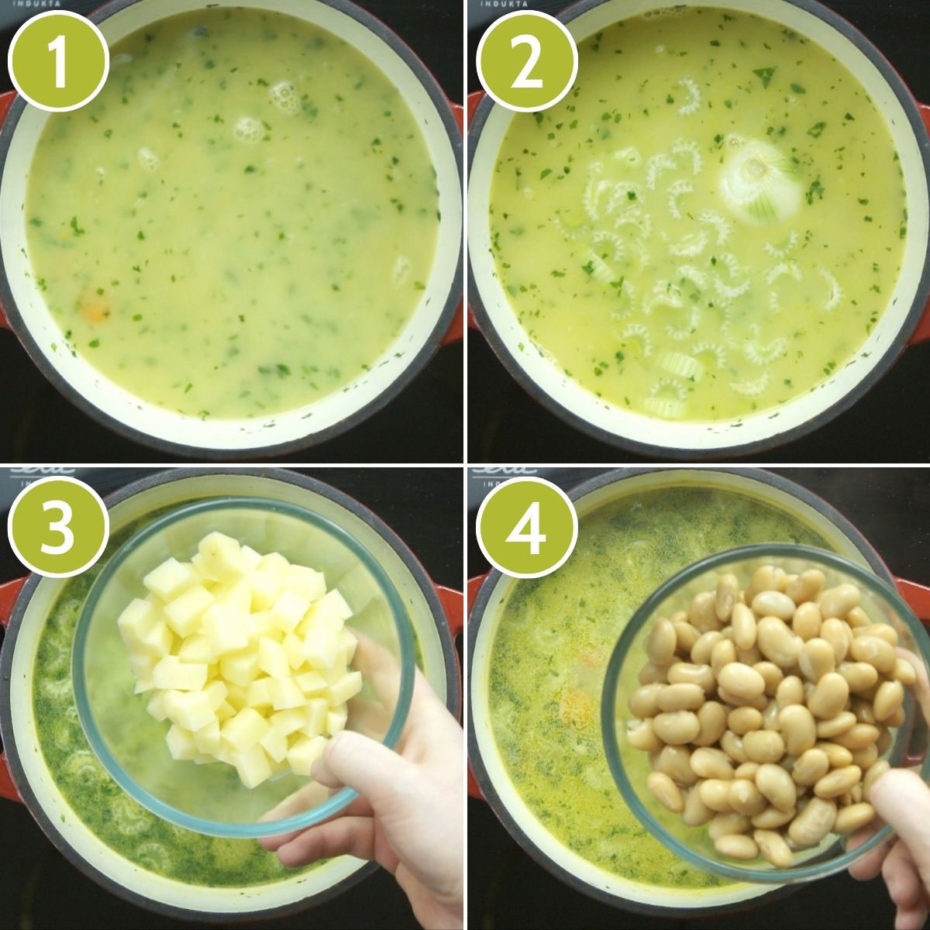 4 photo collage on how to make vegan white bean soup showing a red dutch oven from above with yellow liquid and a hand is adding more ingredients like diced potatoes and white beans