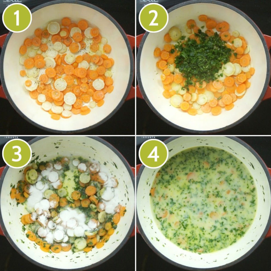 4 photo collage on how to make vegan white bean soup showing a red dutch oven from above with carrot and parnsip slices, freshly chopped herbs, flour and a yellow liquid on the last one.