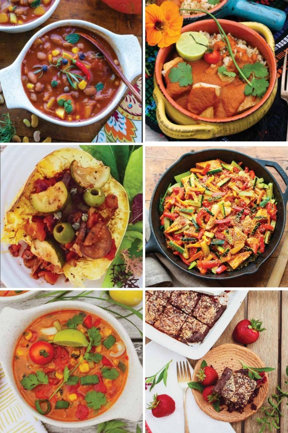 6 photo collage of our favorite dishes from the California Vegan Cookbook