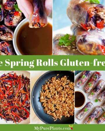 5 photo collage with lots of spring rolls and a title in the middle saying are spring rolls gluten-free