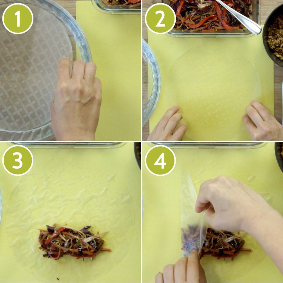 Step photos how to roll rice paper spring rolls: 1) submerge rice paper, 2) place it on a dry surface, 3) place the filling in the middle around the lower third, 4) fold the sizes inside like an envelope