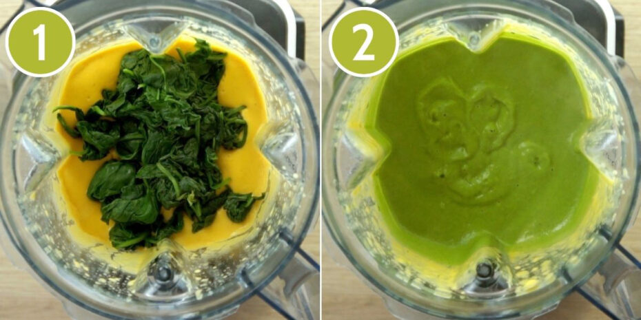 2 photo collage of a blender from above showing first a yellow sauce with wilted spinach, the second shows a green sauce