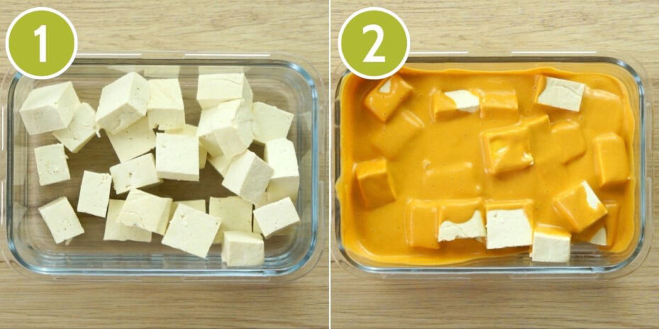 2 photo collage of a glass bowl first full of white tofu cubes, second the white tofu cubes are coated with a thick orange sauce