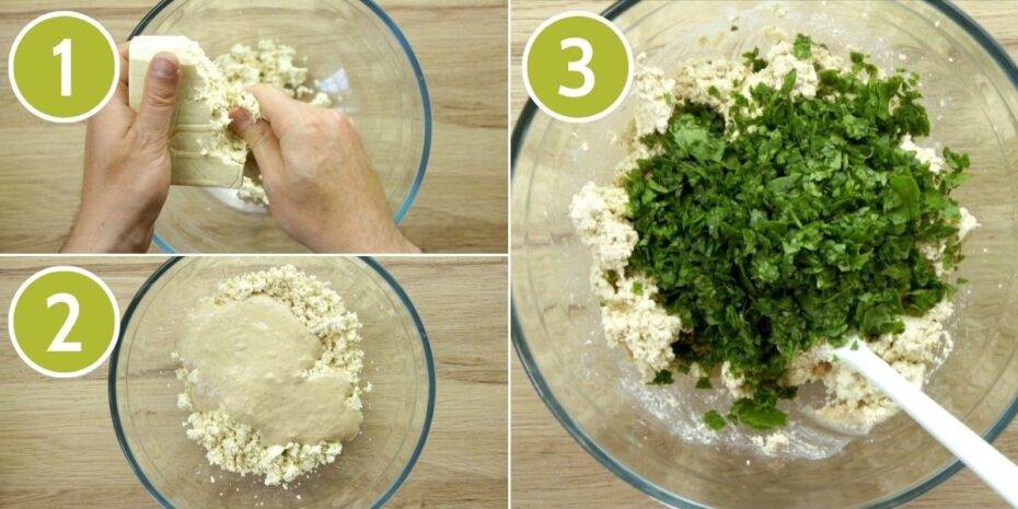 3 photo collage of a glass bowl from above 1 a hand is crumble tofu in it, 2 a white sauce is added on top, 3 chopped spinach leaves are added