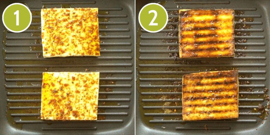 2 photo collage showing a grill pan with two yellow-brown tofu slices first uncooked, then cooked.