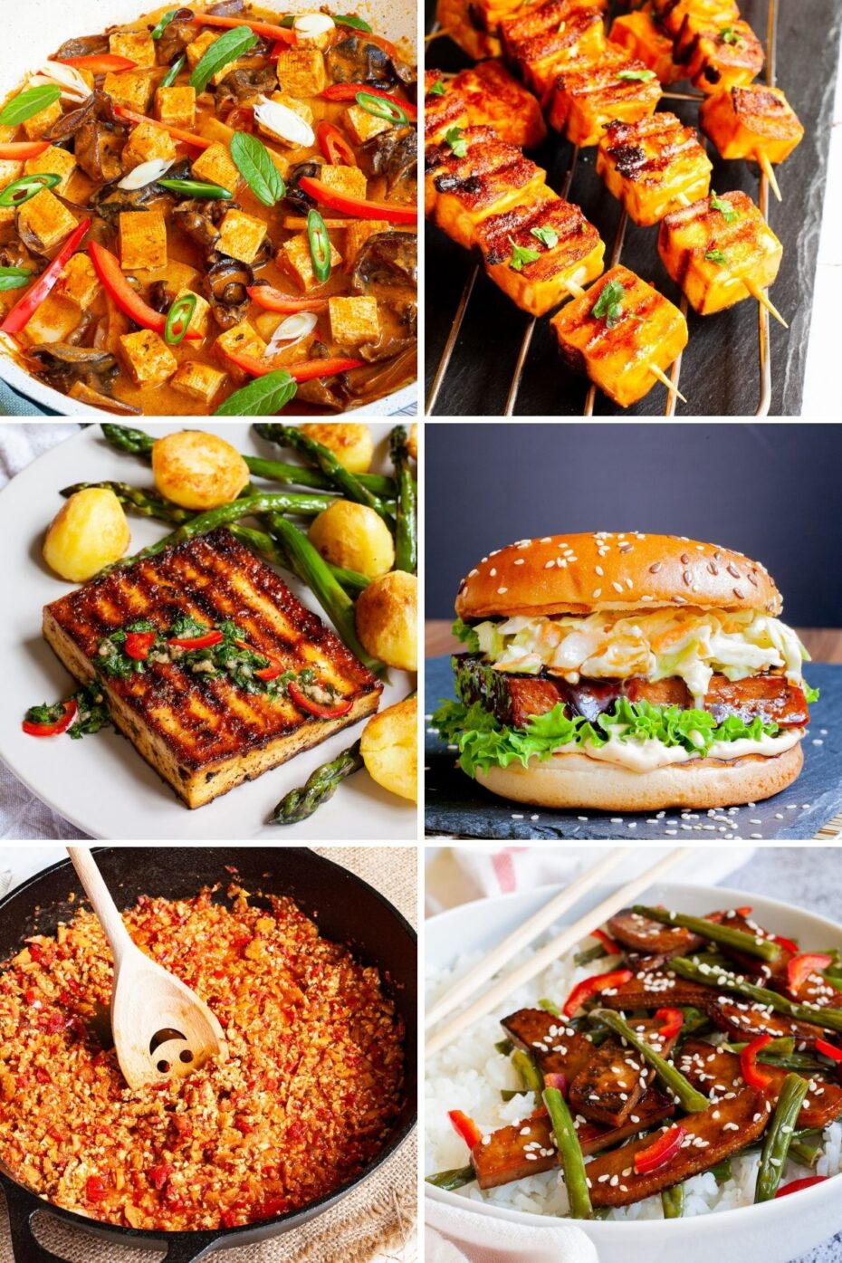 5 photo collage of different tofu dishes there is a curry, a skewer, a burger, a steak, a stew and a stir-fry dish