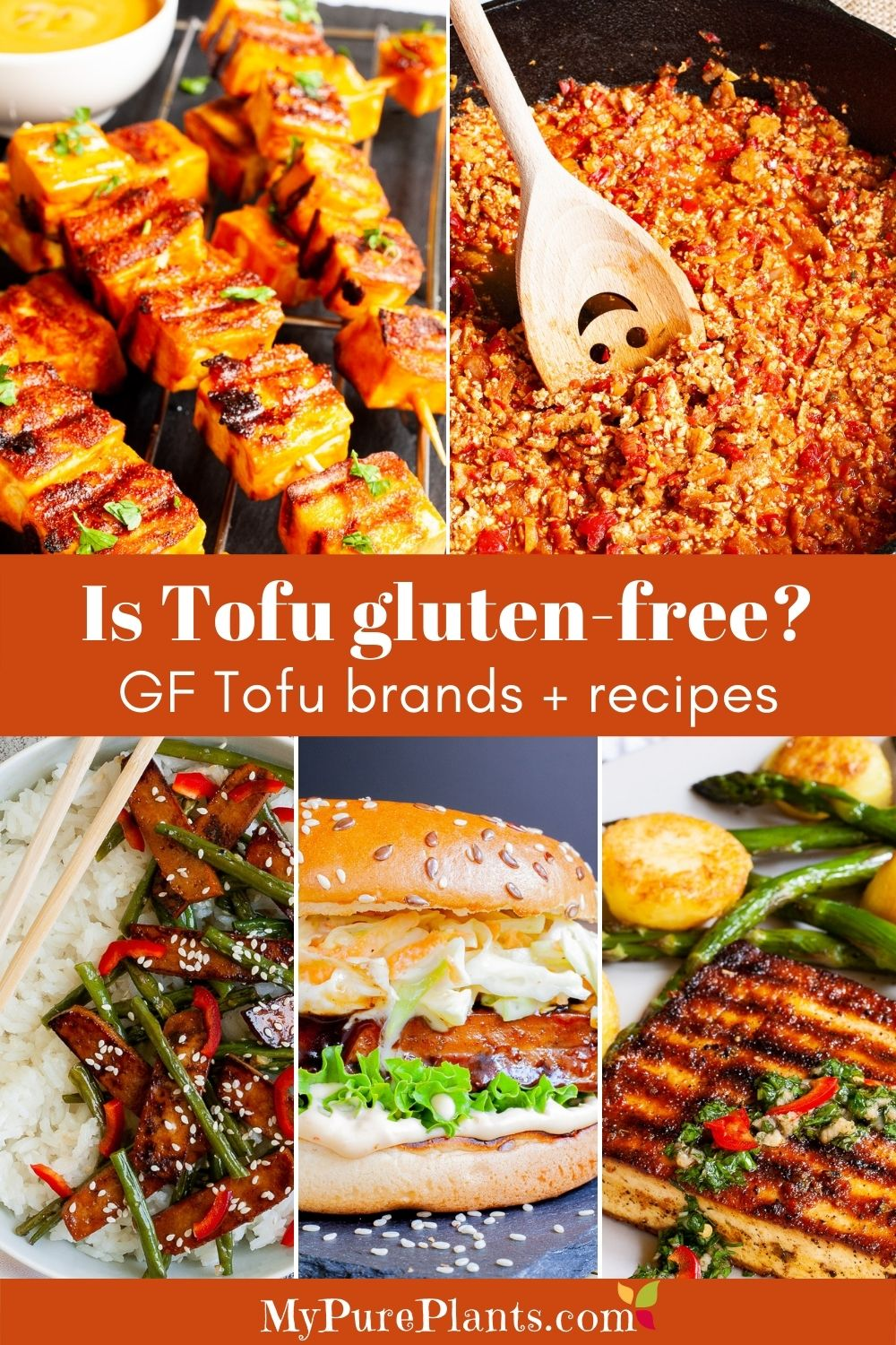 5 photo collage with an overlay text saying is tofu gluten-free