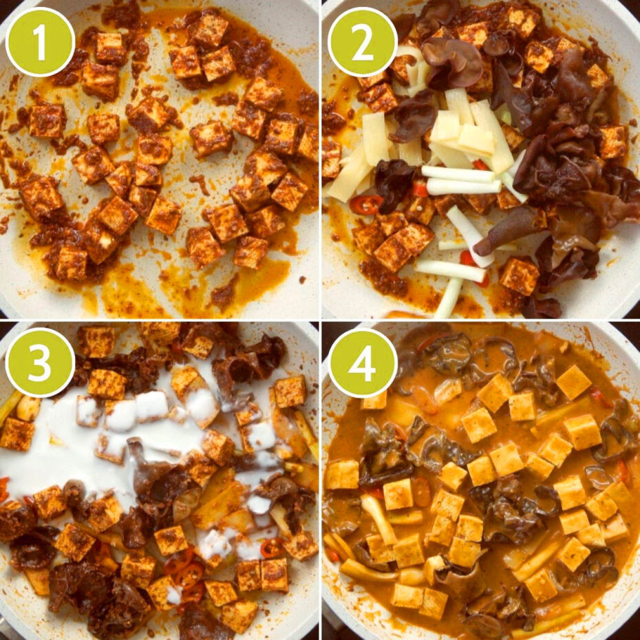 4 photo collage with a white frying pan with a darkbrown red sauce tofu cubes, sliced bell peppers, sliced green chilies, mint leaves, sliced spring onion, mushrooms slices.